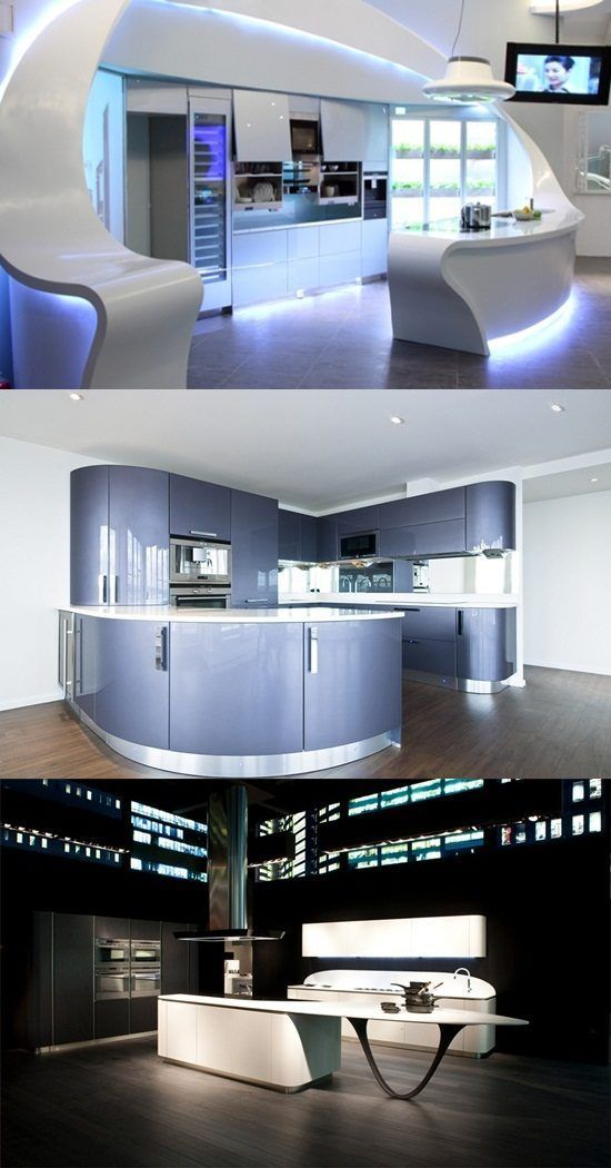 Stylish Kitchen With A Futuristic Concept And Rounded Lines Corner - Cocinas-futuristas