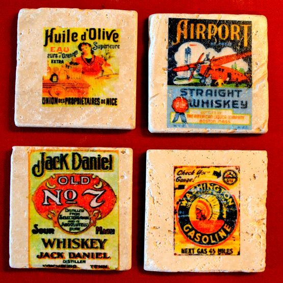 Sunland Home Decor Coupon Code: Vintage Image Coasters. 4x4 Travertine Marble.