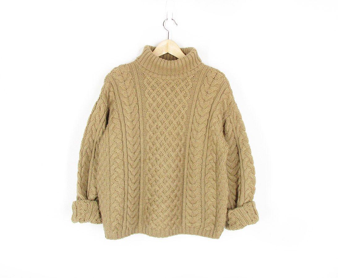 Original Vintage Thick Knit Turtle Neck Jumper Sweater Cardigan L