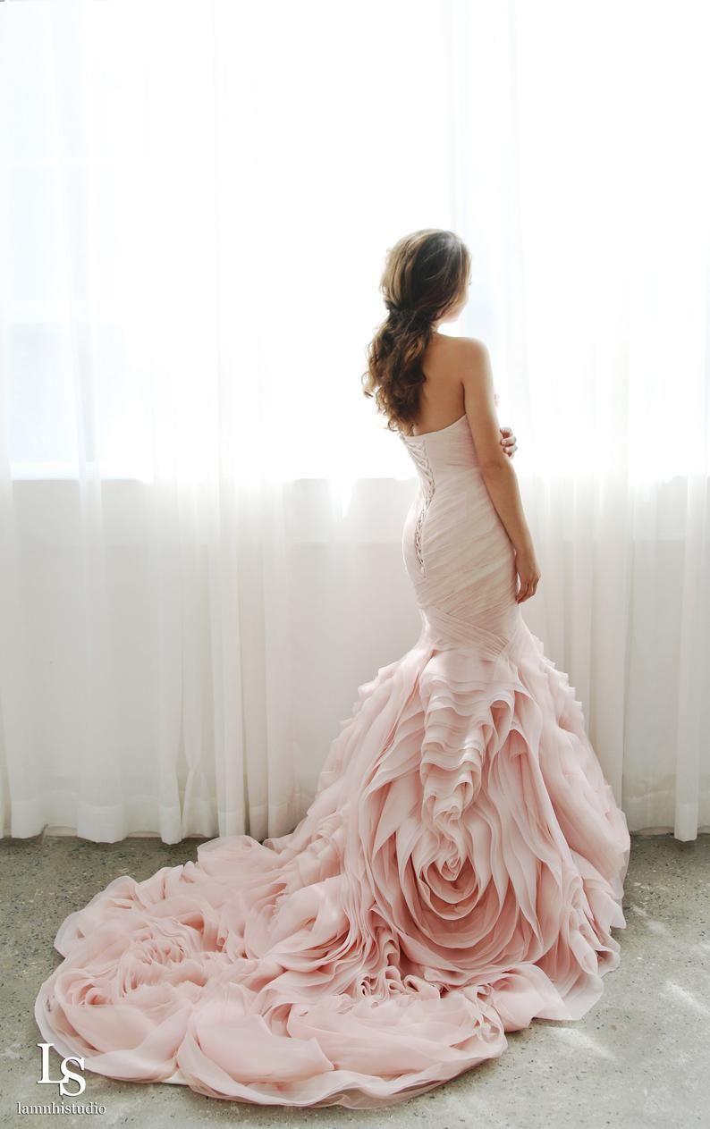 Ls16 Pinkie Blush Pink Mermaid Wedding Dress With Ruffle Etsy In 2021 Blush Pink Wedding Dress Ruffle Wedding Dress Wedding Dresses Blush [ 1263 x 794 Pixel ]