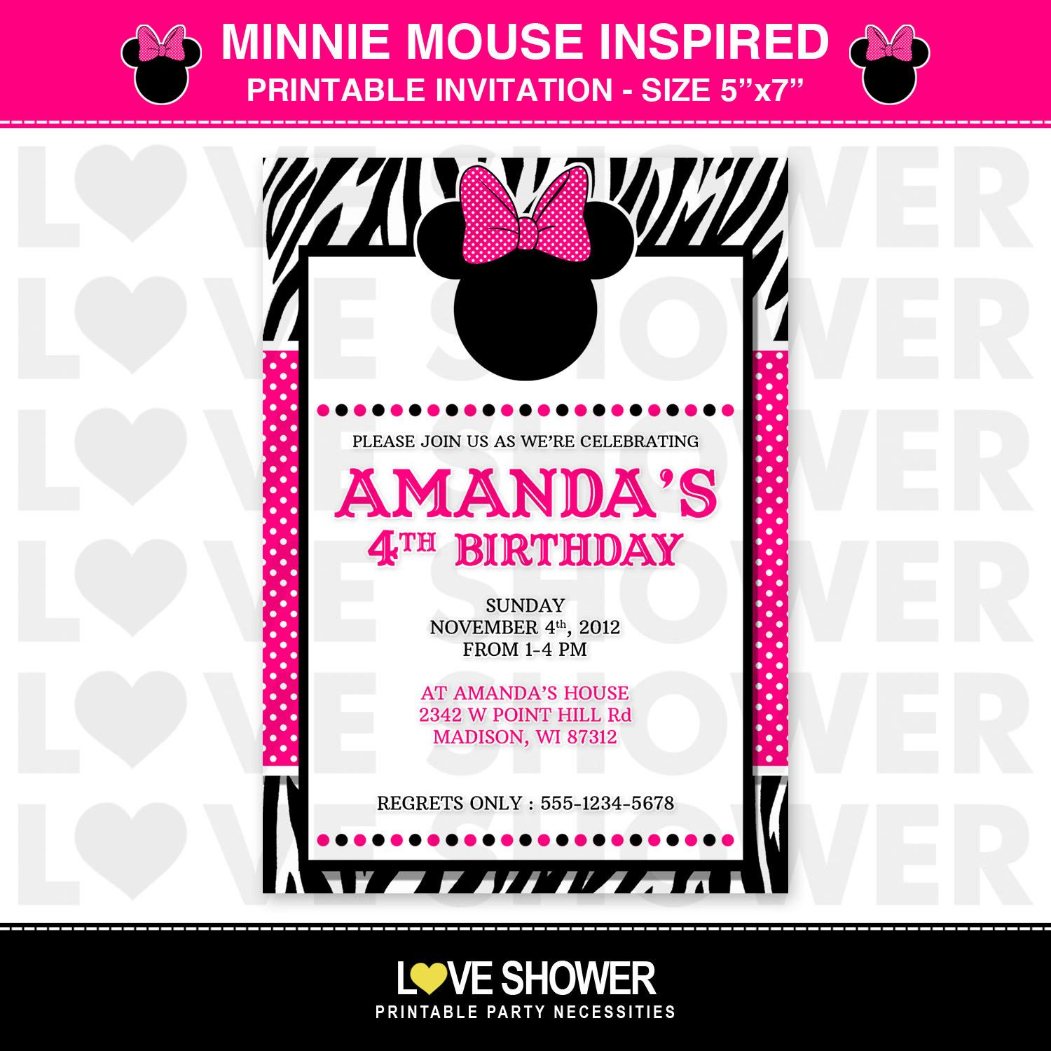 Minnie Mouse BOWTIQUE Disney Inspired Printable Birthday Invitation ...