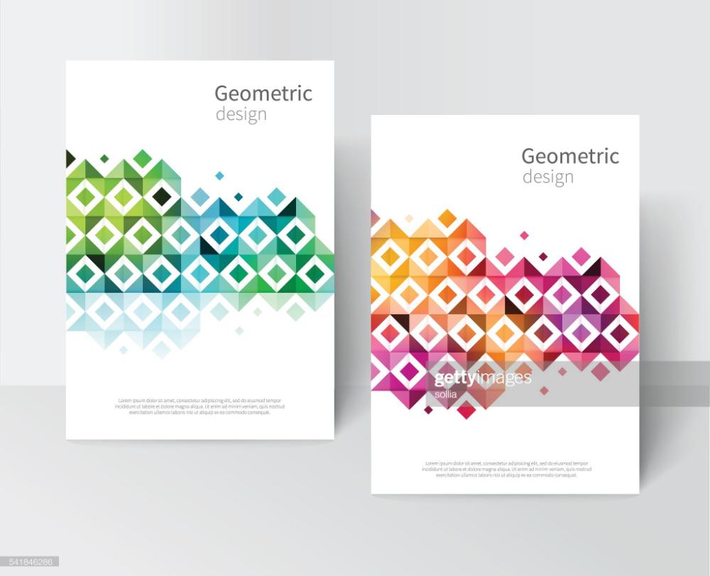 White Brochure, leaflet, flyer, cover template. rainbow