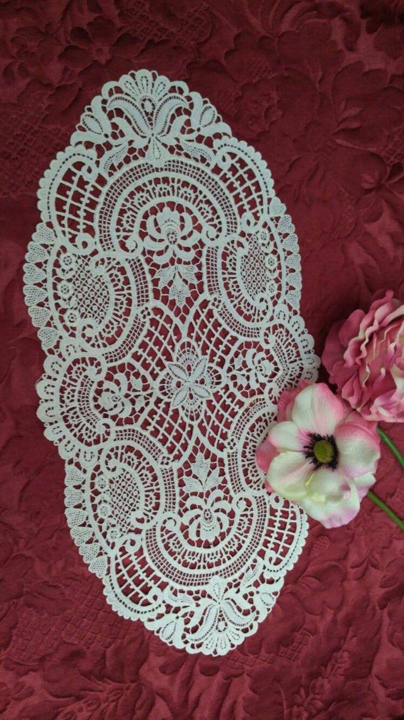 VICTORIAN Schiffli Embroidery TableDecor Needelace | Etsy