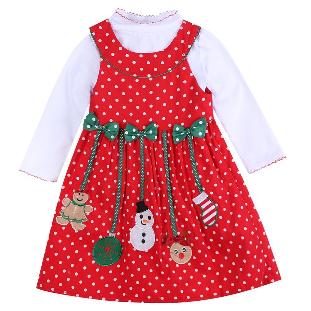 Christmas Dress for Toddler Baby Girls Clothes Xmas Party New Years Reindeer Snowflake Splice Frock