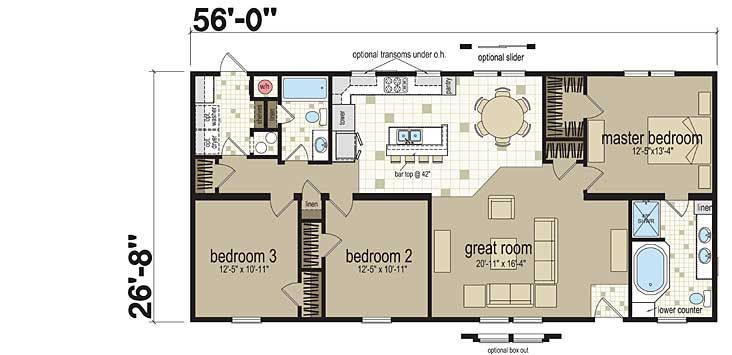 Floor Plans: Ibis - 4563M1-0 - Manufactured and Modular Homes
