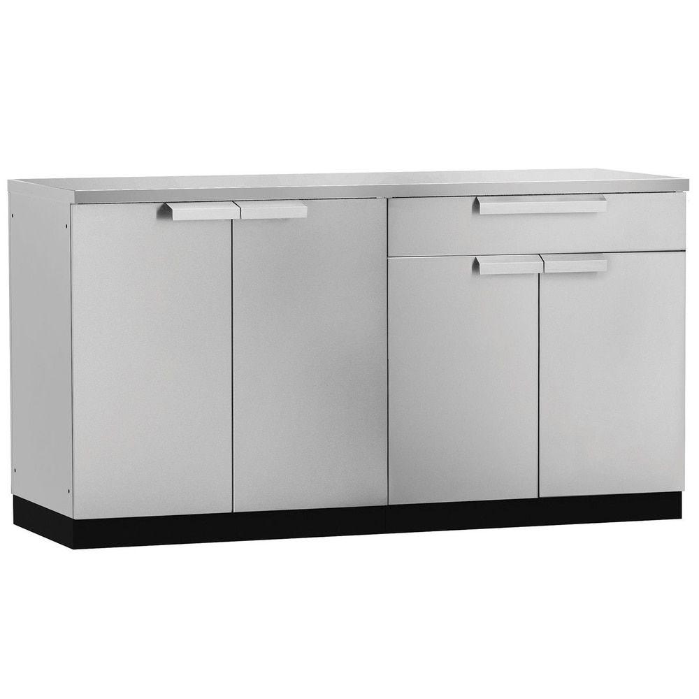 Newage Products Aluminum Stainless Steel 64 Inch X 24 Inch 3 Piece Outdoor Kitchen Storage Outdoor Kitchen Cabinets Kitchen Furniture Inspiration Kitchen Cabinet Styles
