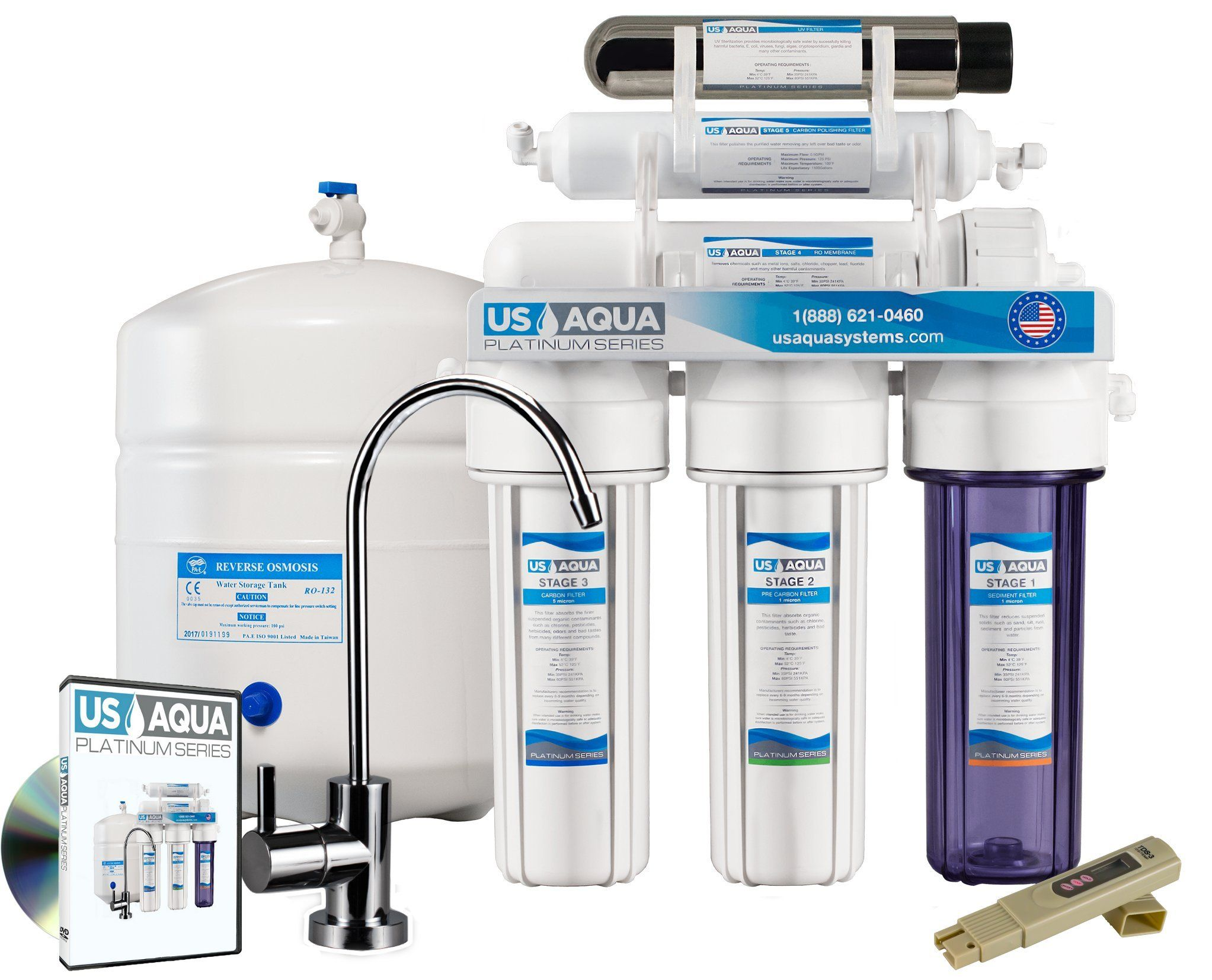 Us Aqua Platinum Series Deluxe High Capacity 100gpd Under Sink Reverse Osmosis Purifier Drinking Water Filter S Water Filters System Sink Drinking Water Filter