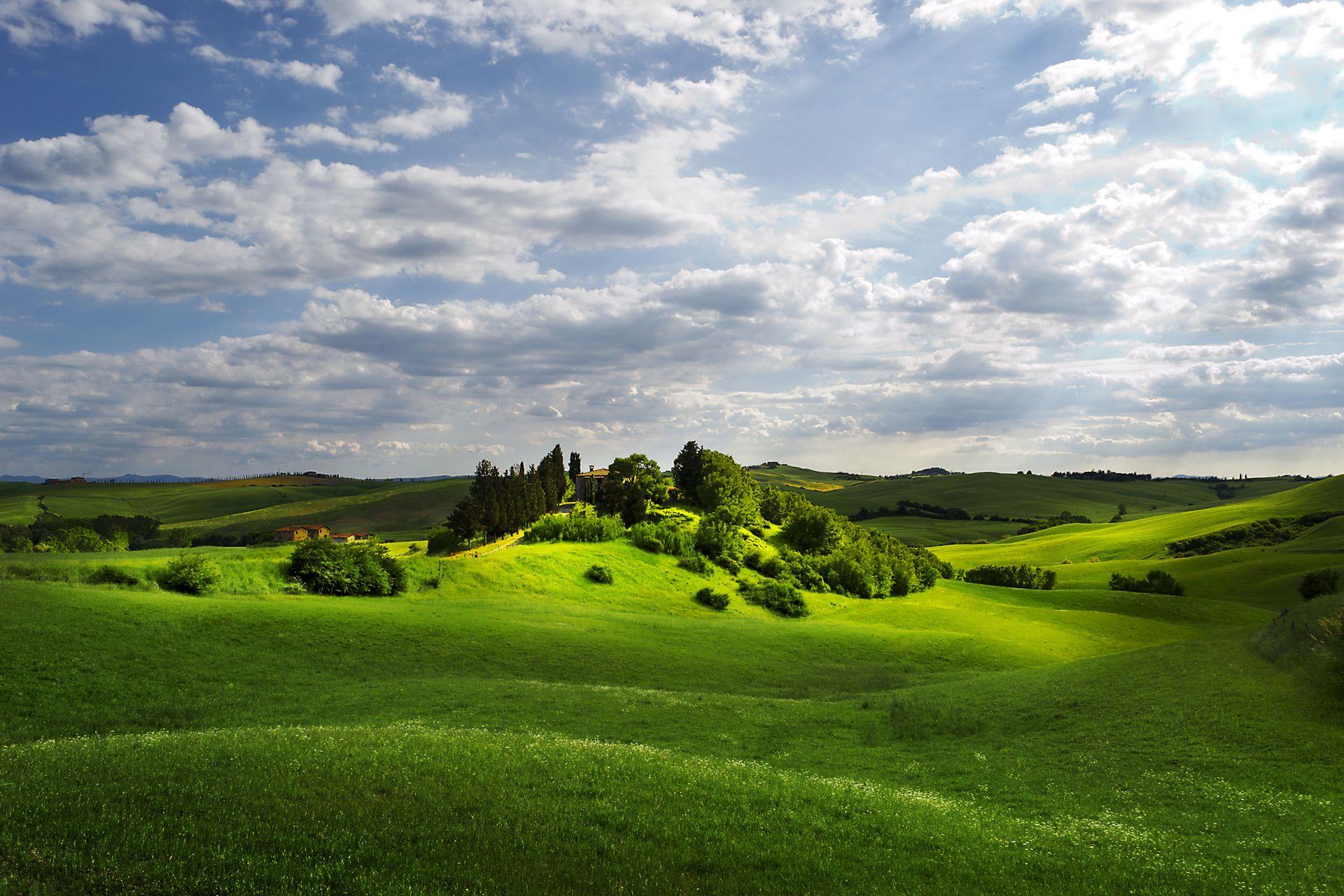 Serenity Sky Clouds Rays Light Field Hills Flat Dream Houses Wallpaper DesktopNature