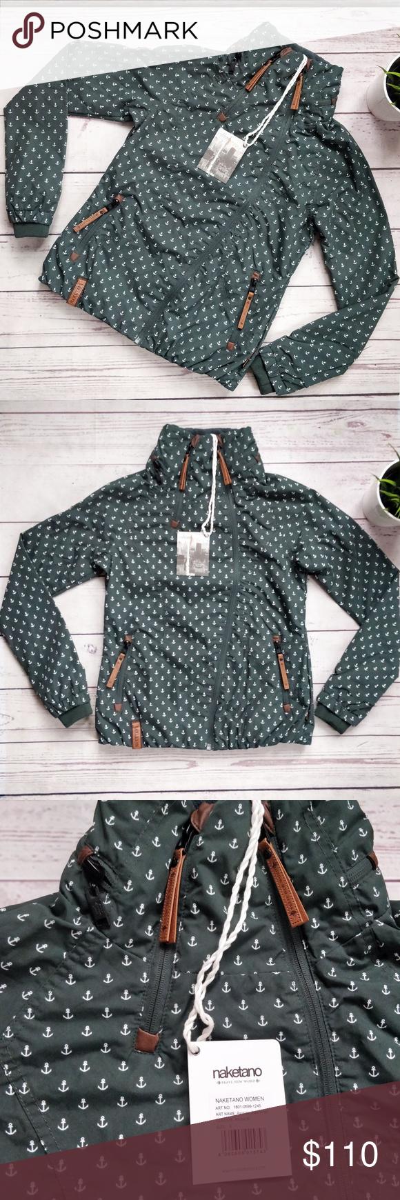 NWT NAKETANO Anchor Print Dark Green Zip Jacket S NWT