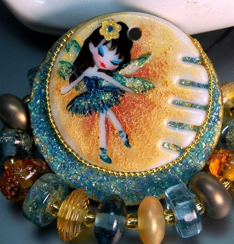 TRIZASDESIGNS- Handmade fused glass pendant, set lampwork bead REF- LB0694-SRA