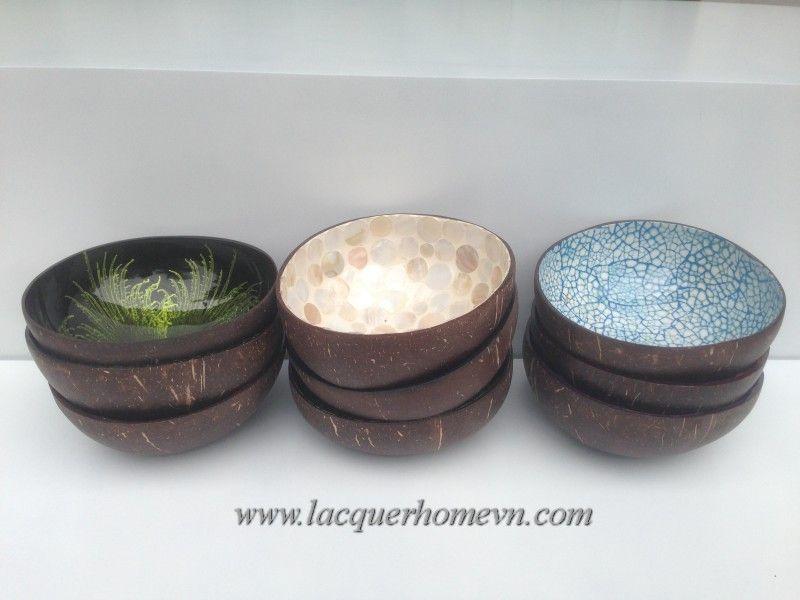 Vietnamese Lacquerware Factory, Vietnam Bamboo, Vietnam Handicrafts, HT5734  Vietnam Eggshell Inlaid Coconut Bowl