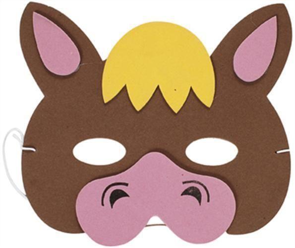 Flexi foam farm animal horse mask education pinterest for Donkey face mask template