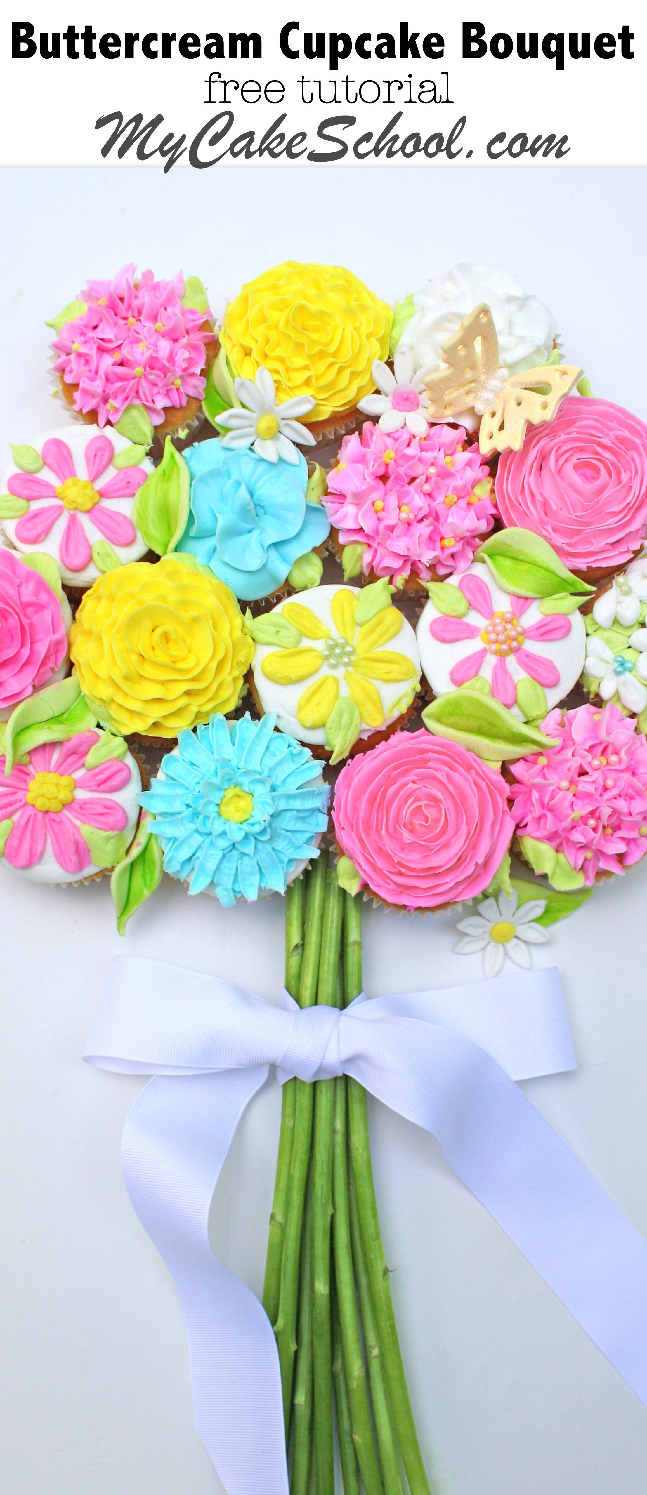 Free tutorial learn to make a beautiful cupcake bouquet learn how to make a beautiful bouquet of buttercream flowers in this mycakeschool free cake tutorial izmirmasajfo
