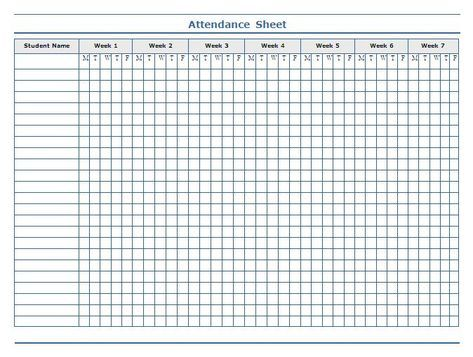classroom charts printable Guidelines for Attendance Sheet - printable spreadsheet template
