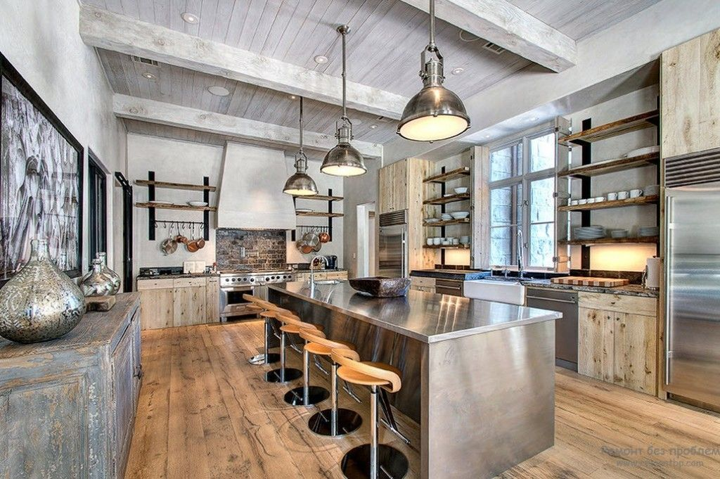 Stylish industrial kitchen with exposed beams ceiling and stainless stylish industrial kitchen with exposed beams ceiling and stainless steel industrial pendant lighting as kitchen ceiling workwithnaturefo