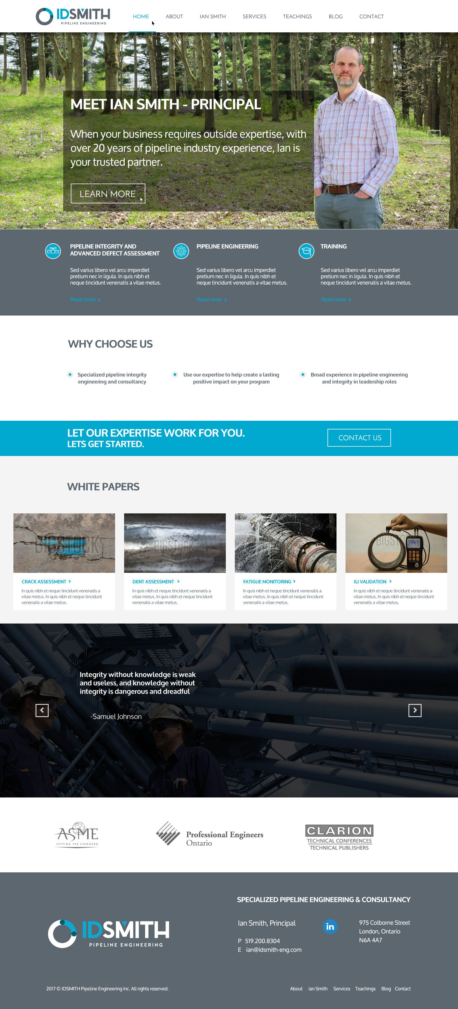 Custom Website Design By Zoo Media Group For Id Smith An Engineering Consulting Firm Out Of London Ont Custom Website Design Web Design Engineering Consulting