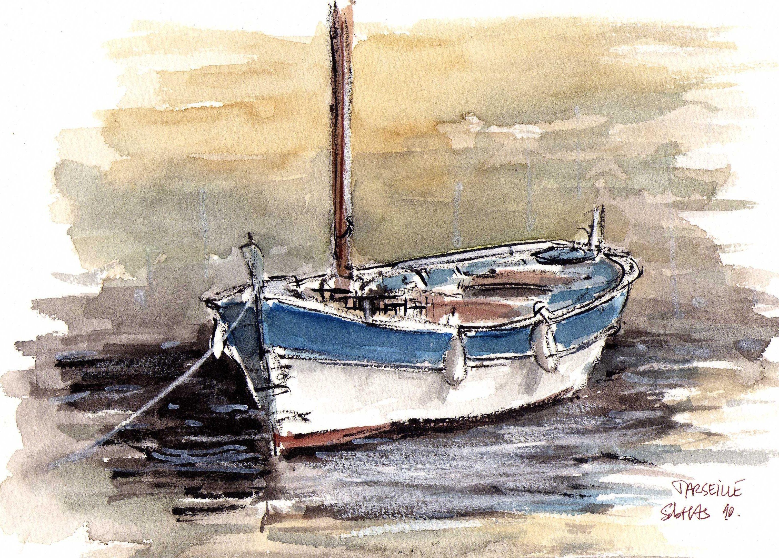 Aquarelle Bateaux Bateau Carnet De Voyage Plage Aquarelle