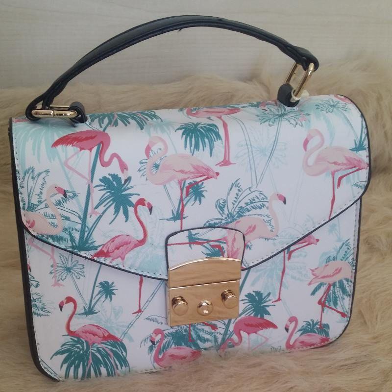 Boldo Flamingos O Estampado Bolso Con De Mano Larga Asa Flamingo fz5qa