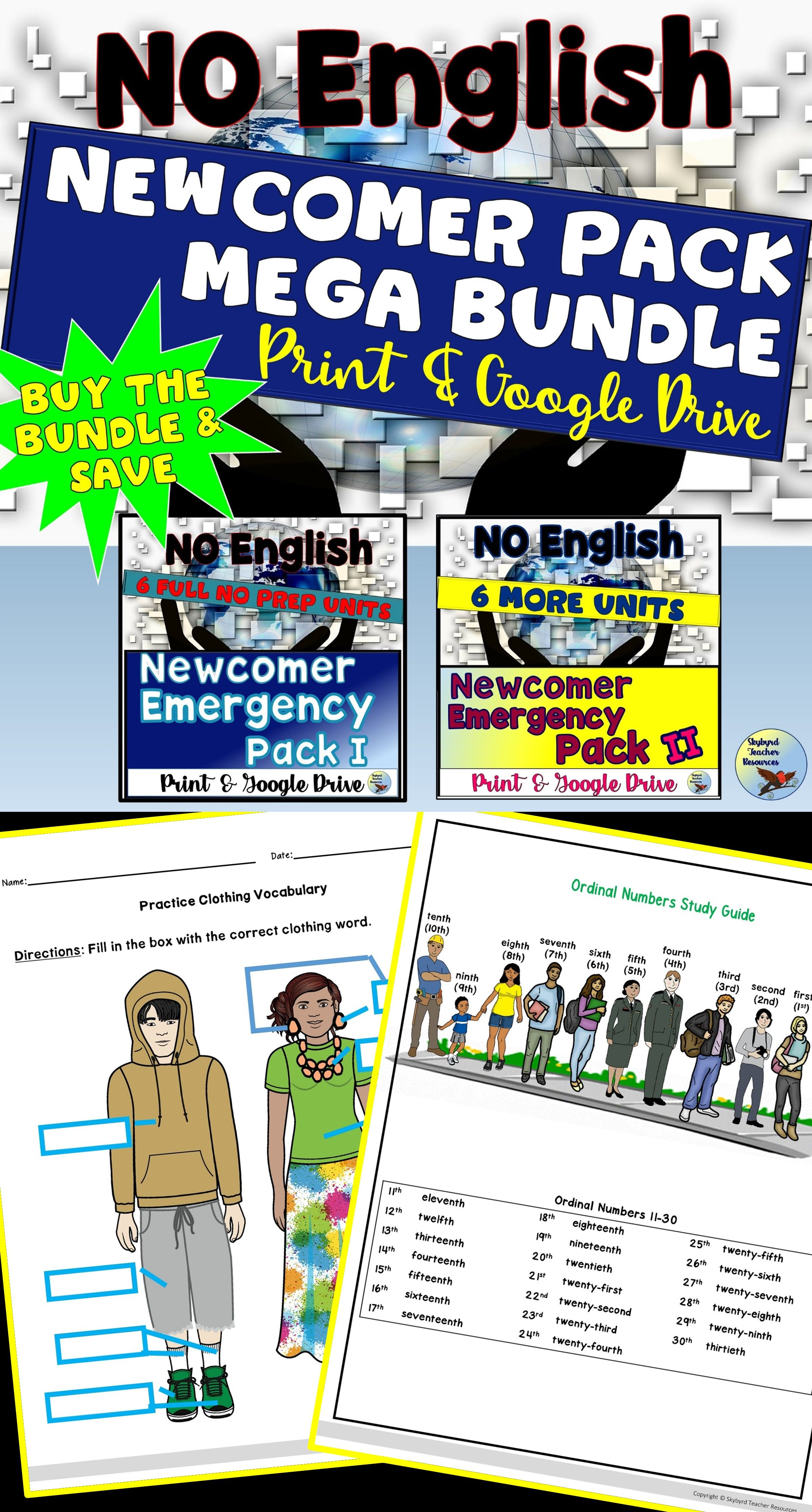Esl Newcomer Activities Pack Mega Bundle Print Amp