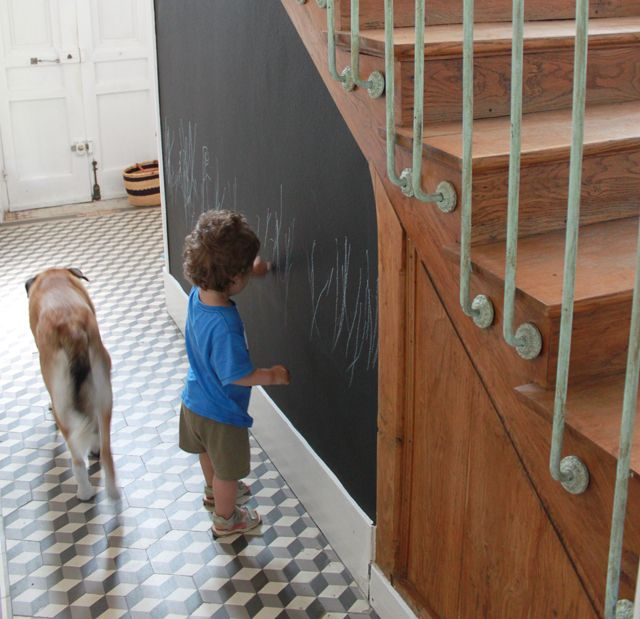 Entrée   tableau ardoise   couloir DECORATION Pinterest - deco peinture entree couloir