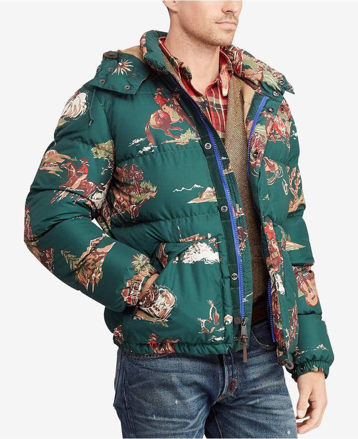709dbdafd29 Polo Ralph Lauren Men s Cowboy Print Water-Repellent Down Jacket ...