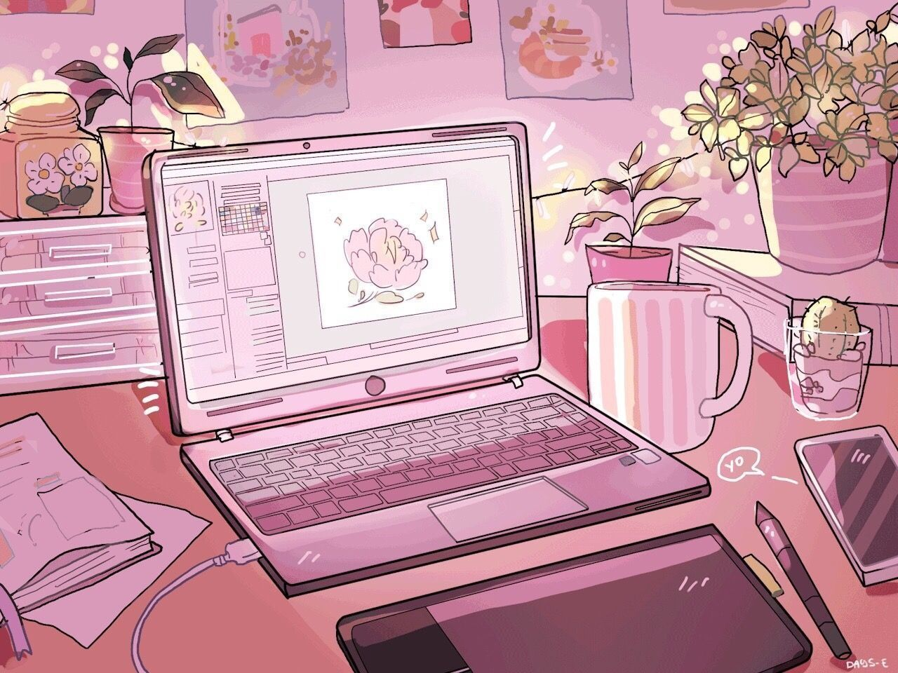 Aesthetic laptop in 2020 pastel pink aesthetic anime