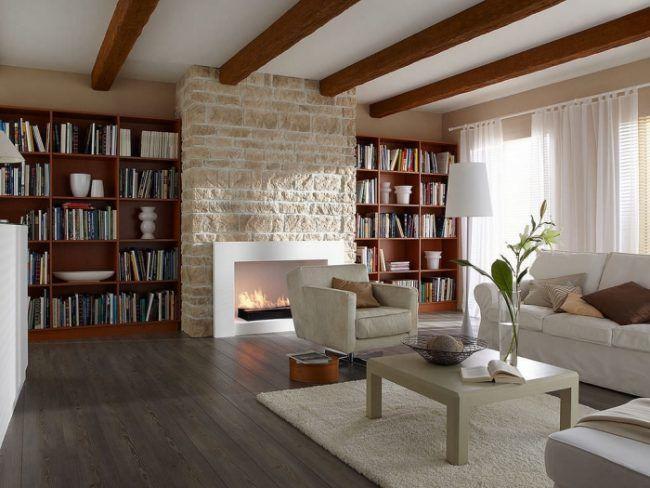 steinwand im wohnzimmer-kaminverkleidung-ARDENNES-CREME-Klimex - wohnzimmer design steinwand