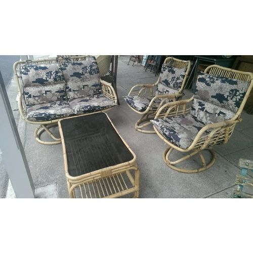 Retro Cane Lounge Suite Vintage Sofa Chairs Table Outdoor Setting 4 Piece