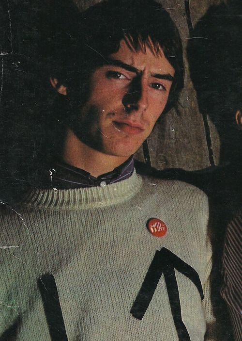 The Jam: Paul Weller, ca 1977 Weller added his own arrows to this jumper using black tape if I remember correctly x