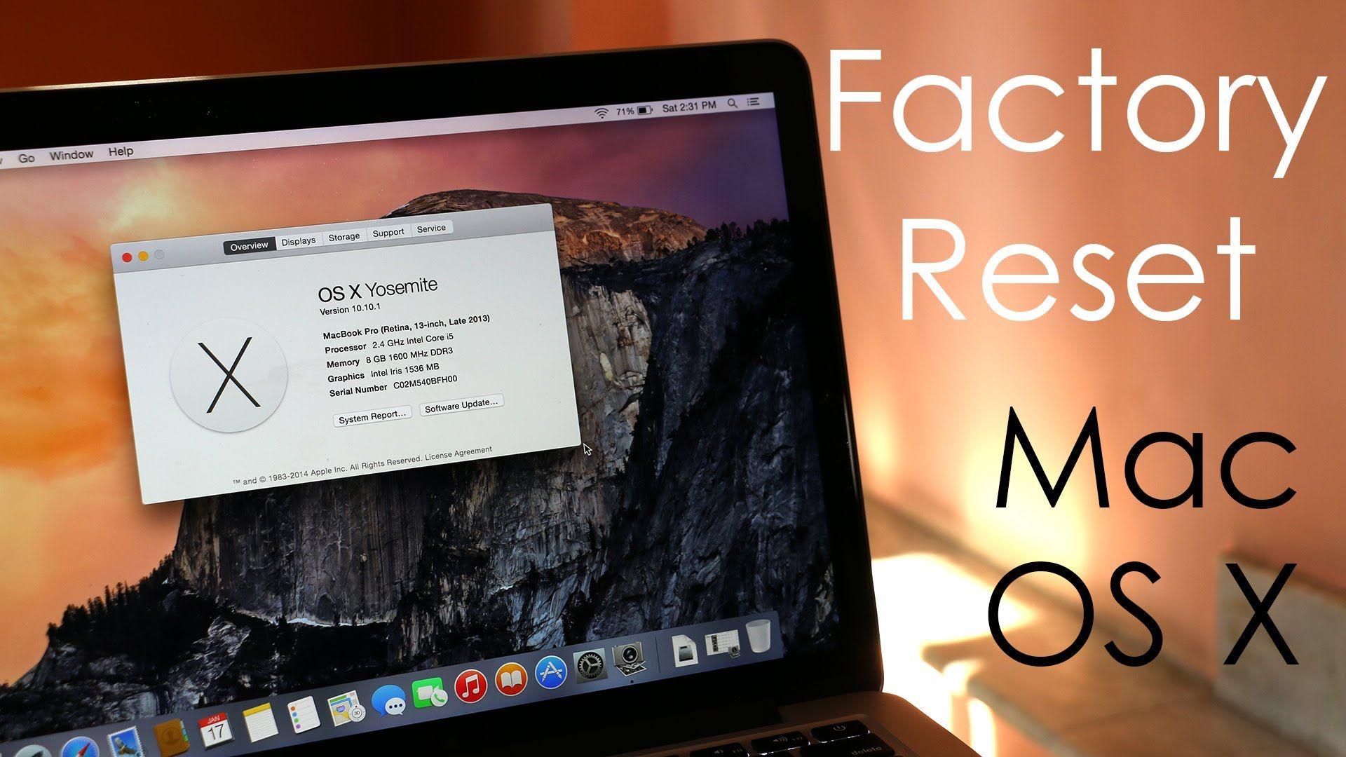How To Factory Reset Hard Reset Your Macbook Os X Yosemite Osx Yosemite Mac Mini Macbook