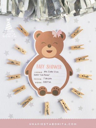 Invitación Baby Shower Osita Imprimible Originales