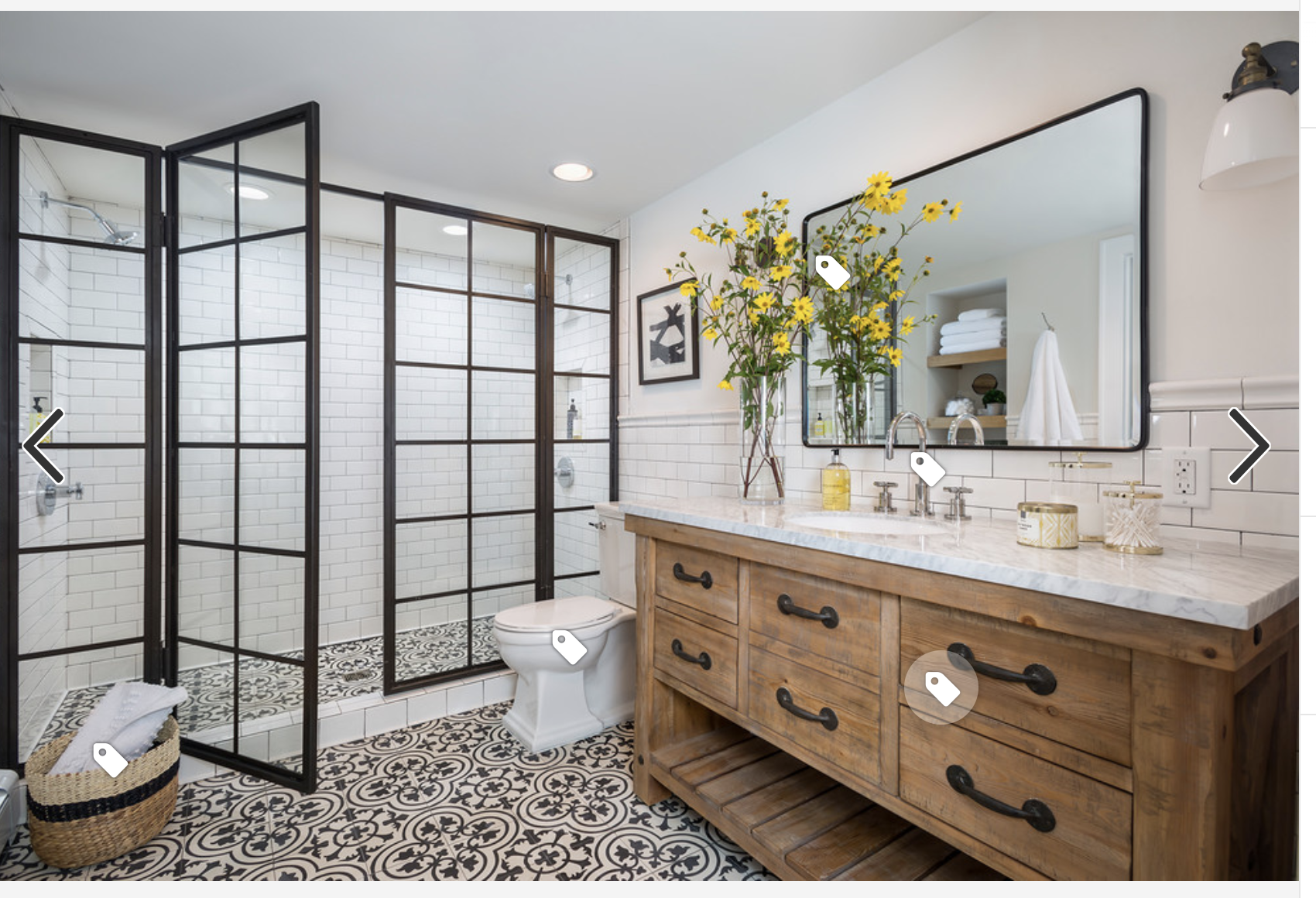 Like This Mix Of Black Natural Wood White Gray Tiles And Pattern Floor Black White Bathrooms Black Bathroom Bathroom Trends