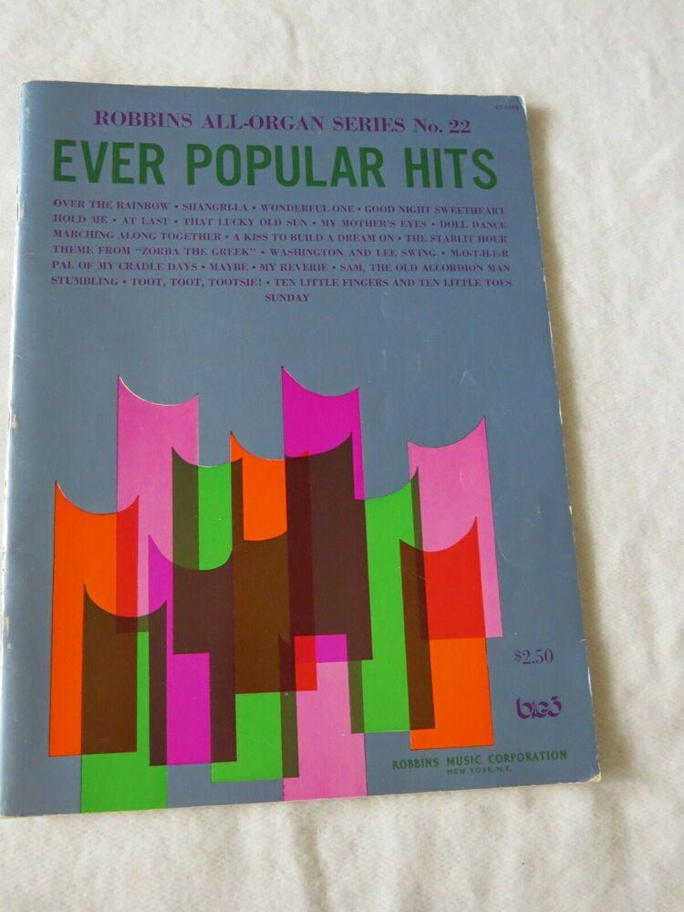 Vtg 1971 Robbins Ever Popular Hits Organ Sheet Music Chords Book