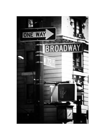 Urban Sign Broadway Manhattan New York White Frame Old Black And White Photography Photographic Print Philippe Hugonnard Art Com Black And White Photography White Photography White Frame