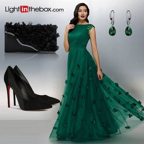A Line Bateau Neck Floor Length Tulle Formal Evening Dress With