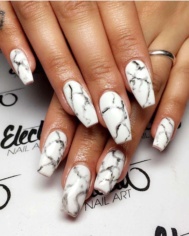 38 White Marble Nails Art Designs & Ideas 2017
