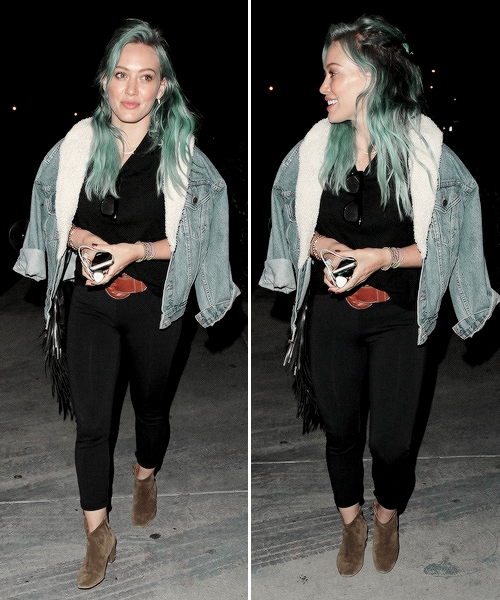 Hilary Duff enjoys a night out with friends in Los Angeles, March 25th