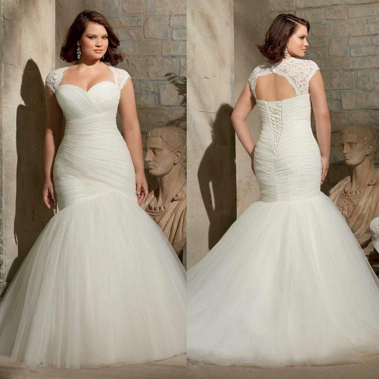 2017 Plus Size Mermaid Wedding For Curvy Brides 2016 Two Piece With Detachable Lace Fit And Flare Simple Bridal Gowns