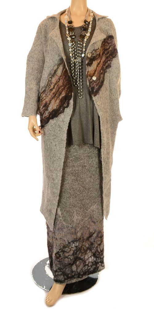 Studio Beautiful Soft Light Grey & Felted Pattern Handmade Wool Quirky Longer Jacket-Studio Art, lagenlook from I Dare To Be. Fabulous for plus-size clothes.