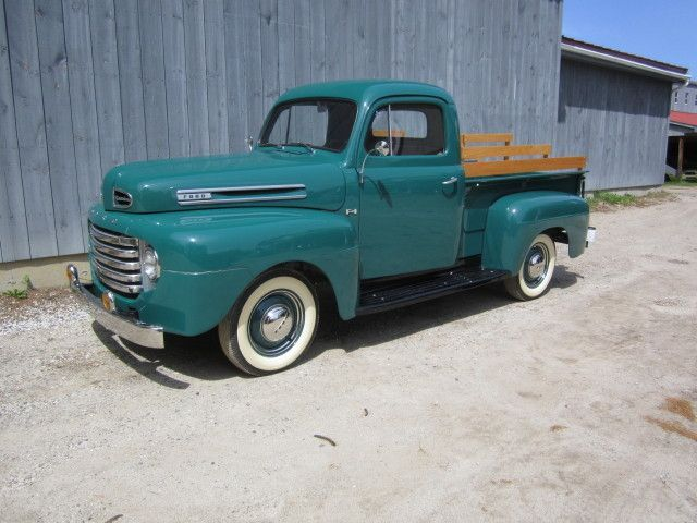 1949 Ford F1 Pickup Red Truck Ford Ford Trucks Ford Classic Cars