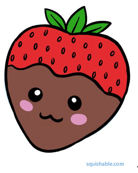 Strawberry Drawing Cute : strawberry, drawing, Squishable, Chocolate, Strawberry, Kawaii, Doodles,, Little, Drawings,, Drawings