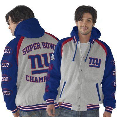 Mens New York Giants Ash Royal Blue Rookie of the Year Super Bowl Champions Commemorative  Jacket 8d7cbd60b
