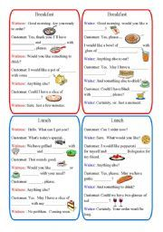 English worksheet: Restaurant Dialogues: breakfast, lunch, dinner