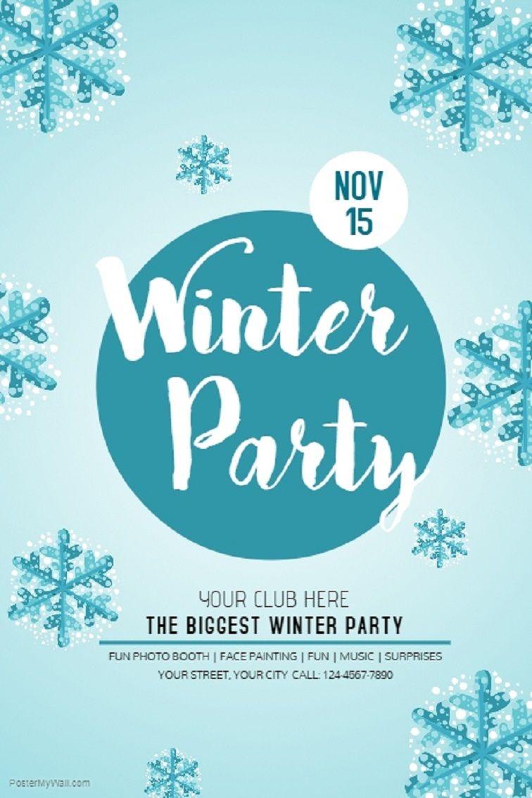 winter party invitation template free  Winter wonderland