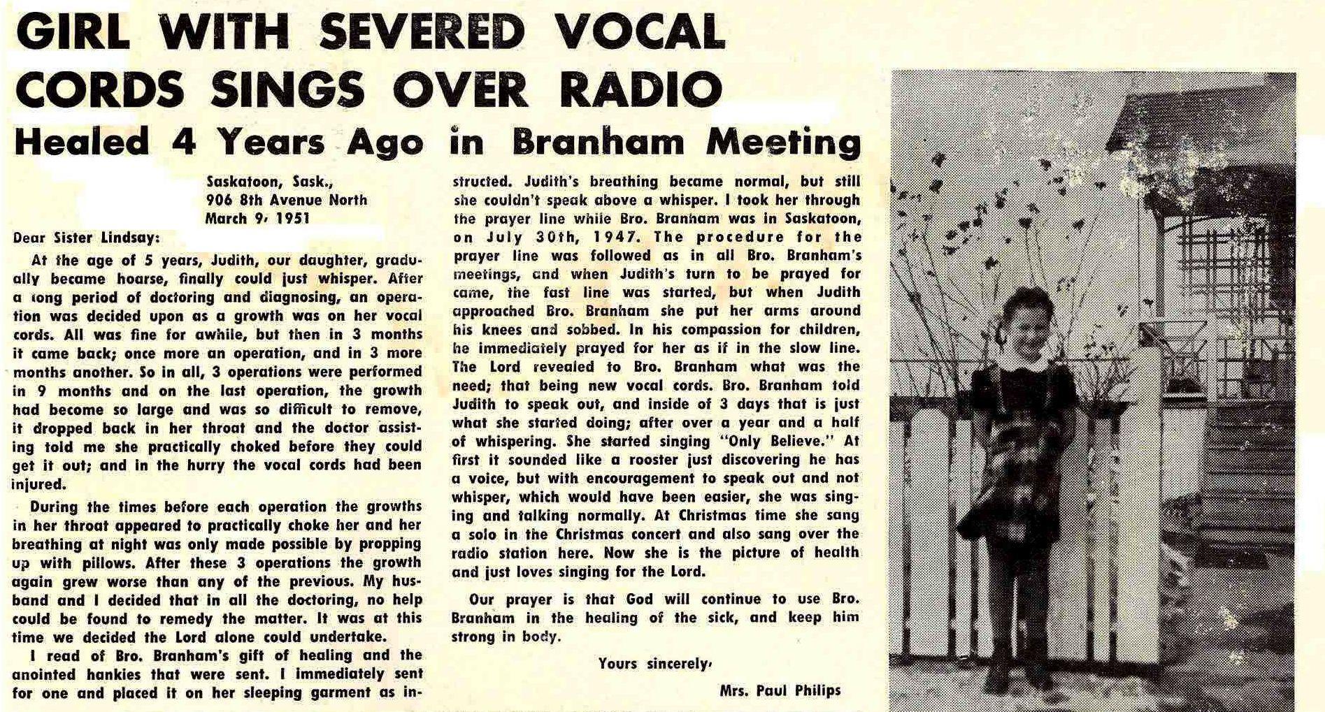 Girl healed in William Branham meeting  | Healing in