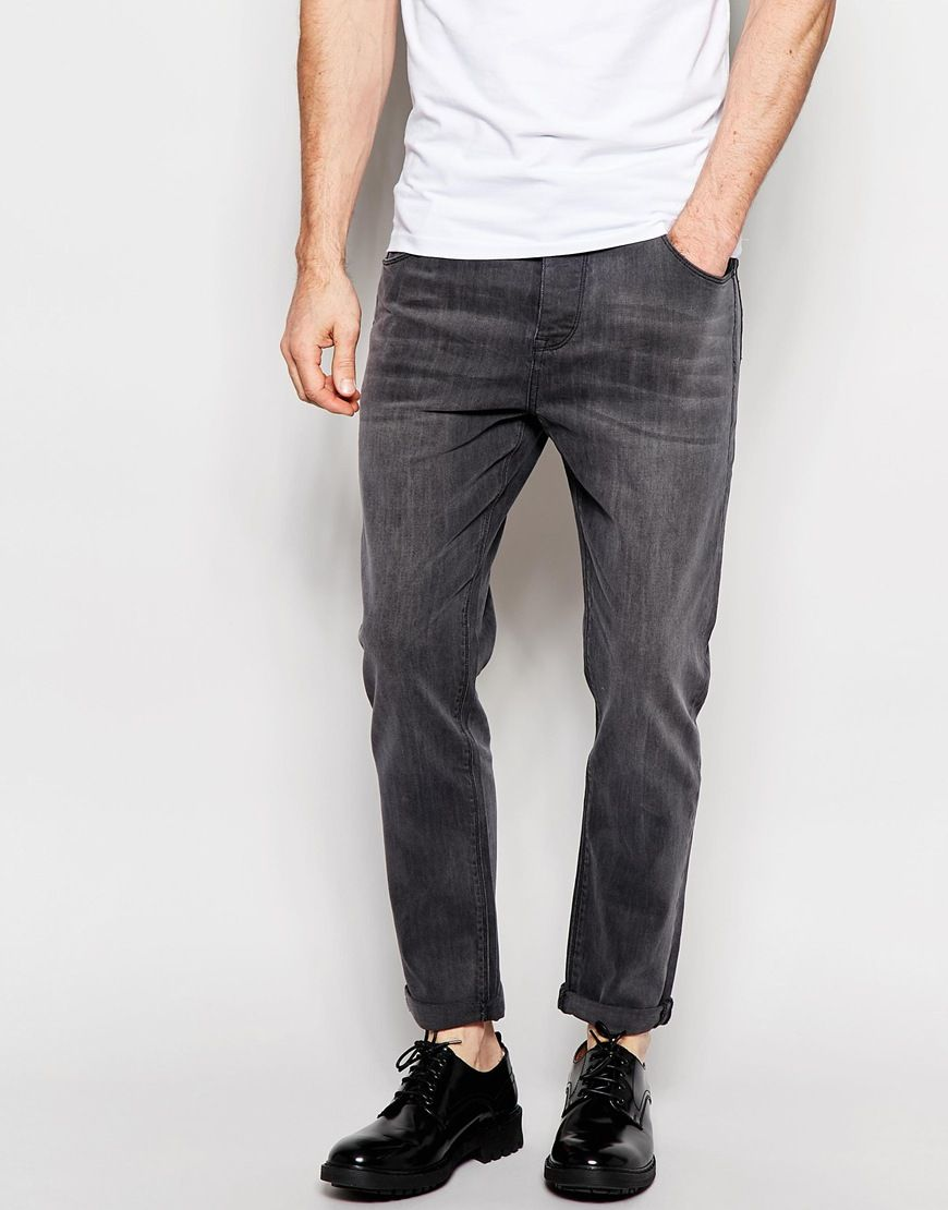 ASOS Stretch Tapered Jeans In Mid Grey