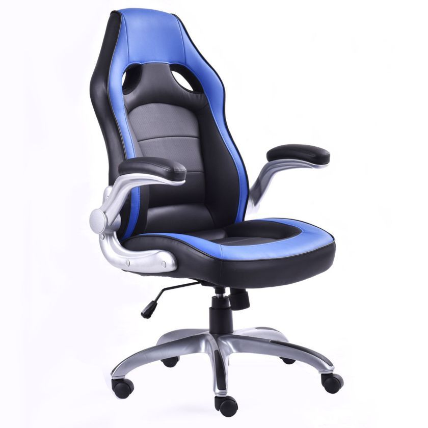 Costway- PU Leather Executive Racing Style Bucket Seat Office Desk Chair Gaming Chair