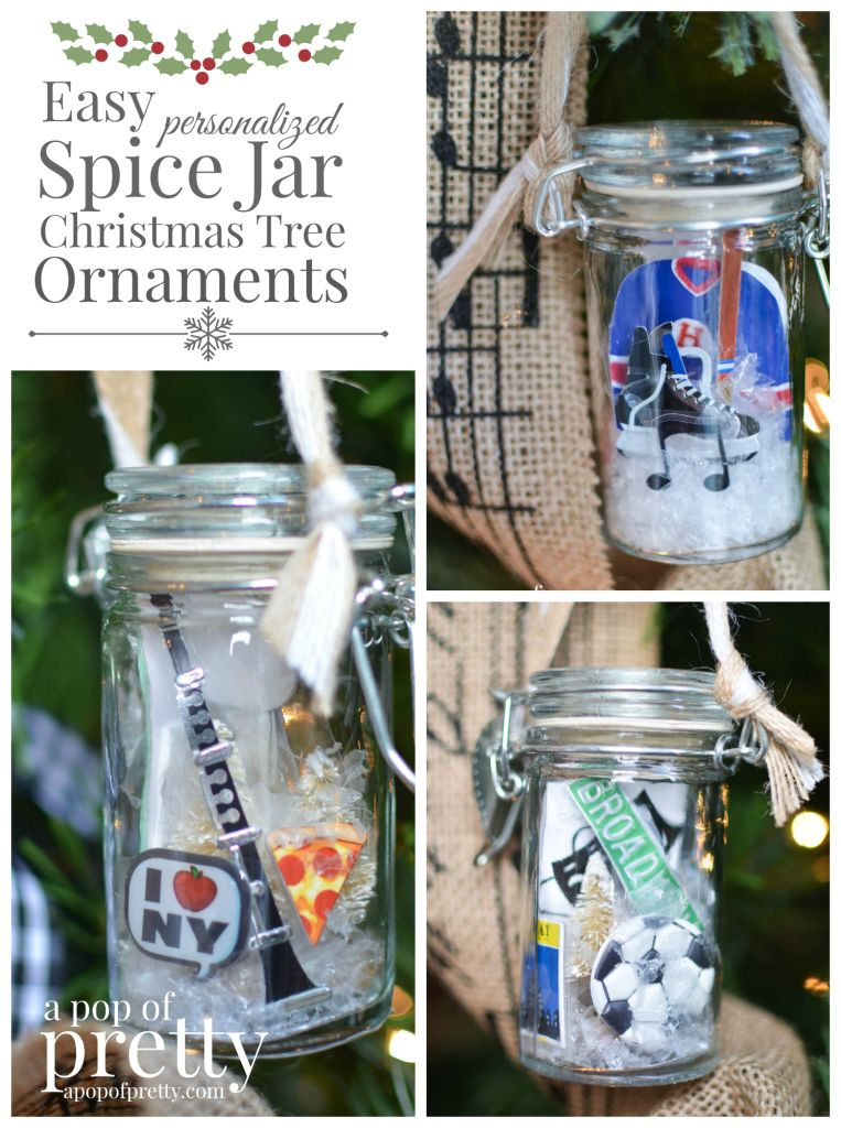 DIY Personalized Christmas Ornaments from Spice Jars Tutorial
