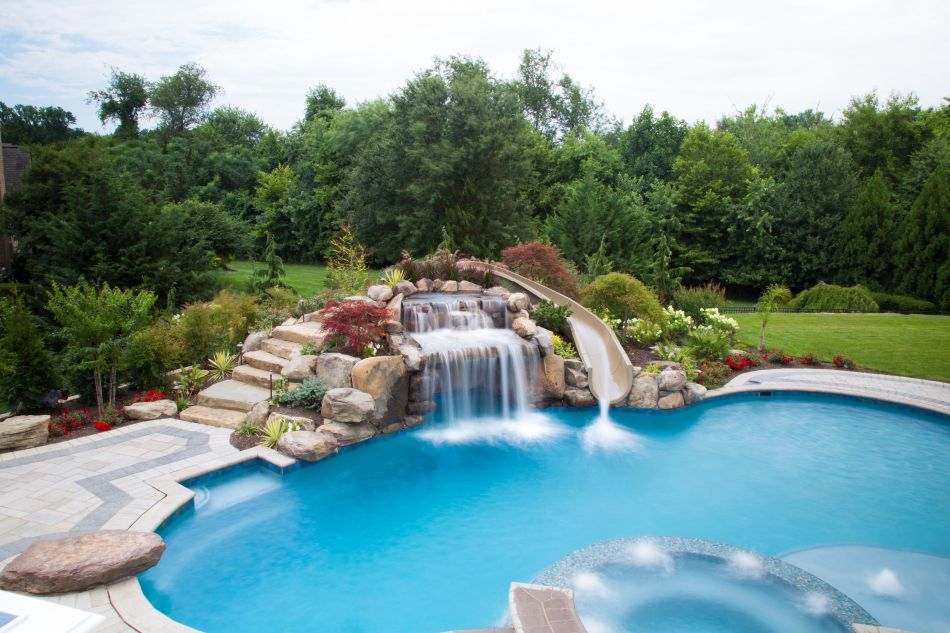 Pool Grottos Aquatic Artists Pool Waterfalls Nj Pa Ny De Md Pool Waterfall Pools Backyard Inground Pool Landscaping
