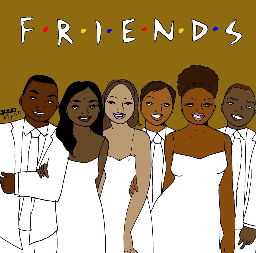 Desenho de Friends com personagens negros.